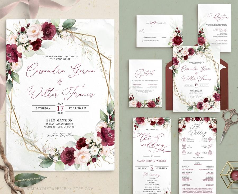Wedding - burgundy and blush wedding invitation bundle, maroon and blush invitation Suite, red blush invite, Marsala Blush Invitation Template, CLARA