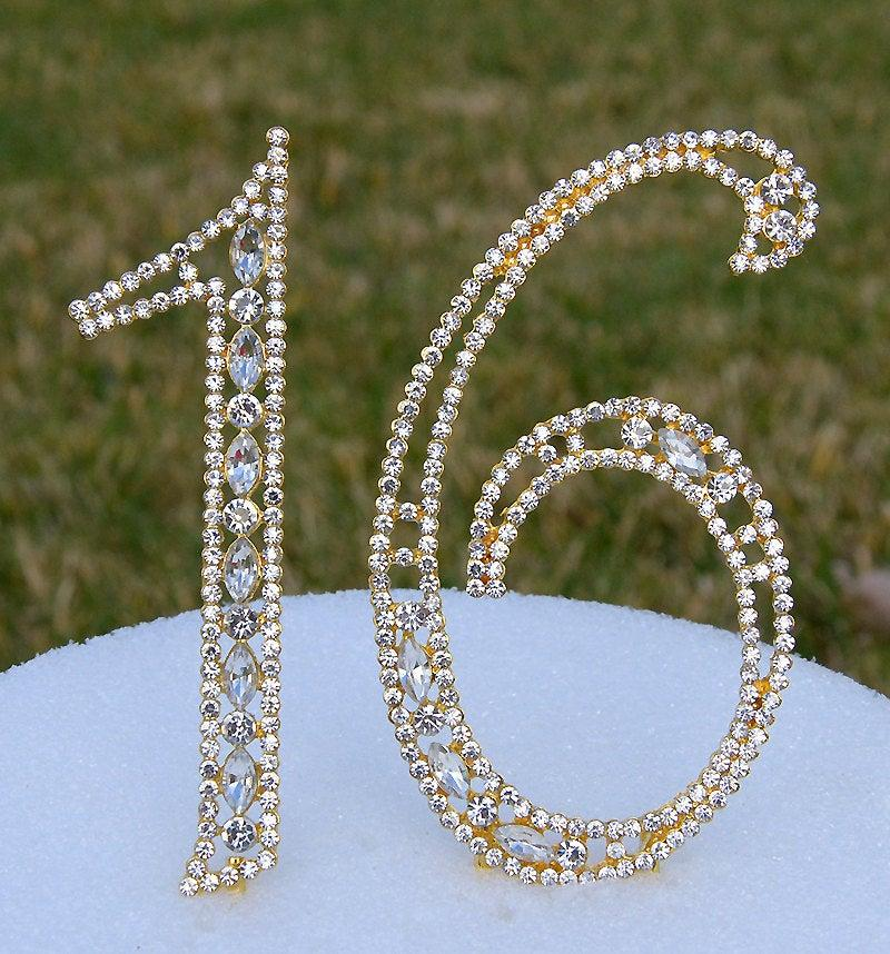 "Hochzeit - New 5"" Gold Rhinestone NUMBER SIXTEEN (16) Cake Topper 16th Birthday Parties Sweet 16 Free Shipping CT161"