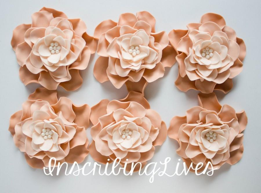 Hochzeit - fondant flowers 6pcs champagne white Ombré edible cake topper rose decorations vintage hobo birthday wedding shabby chic sweet 16 country