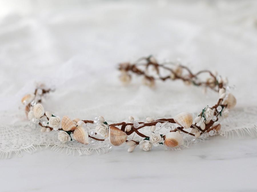 Hochzeit - Seashell mermaid headband, mermaid wreath, beach wedding headpiece with shells, mermaid costume headband, sea hair wreath