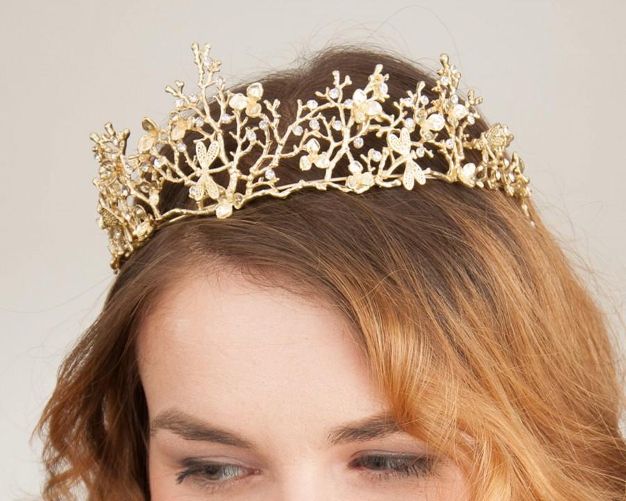 Hochzeit - Bridal, Tiara, Gold, Color, Diadem, Vintage, Style, Crown, Bride, Wedding, Headpiece, Boho, Fairy, Princess, Romantic, Branches