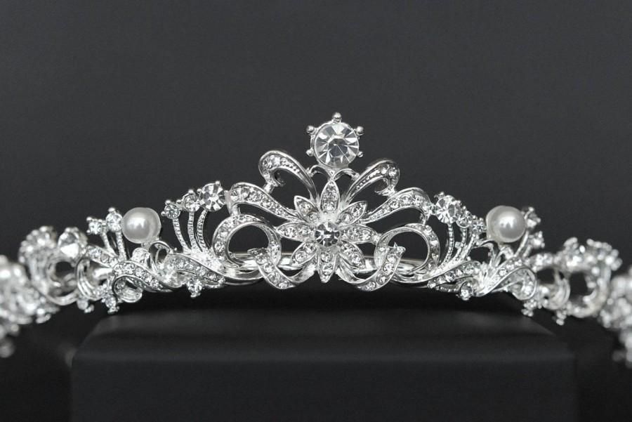 Hochzeit - Royal Tiara, Bridal Tiara, Crown, High Crystal Tiara, Bridal Diadem, Silver Tiara, Crown, Clear Crystal Bridal Diadem Rhinestone Tiara Crown