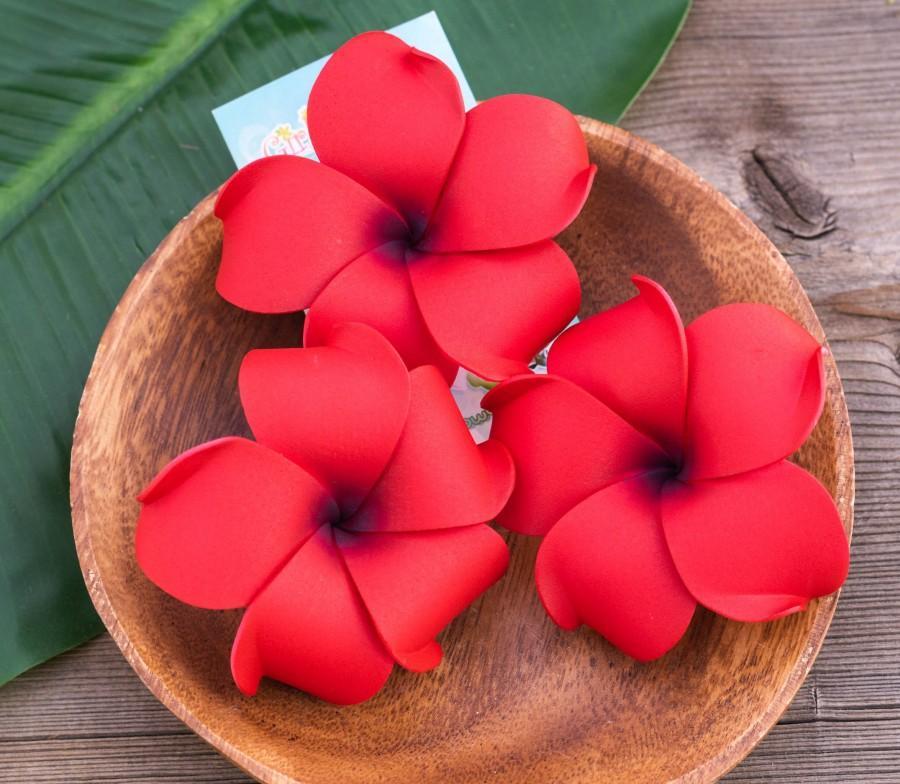 Hochzeit - Red Plumeria Hair Clip, 3 inch foam,  Hair Flower, Valentines Day  Accessories