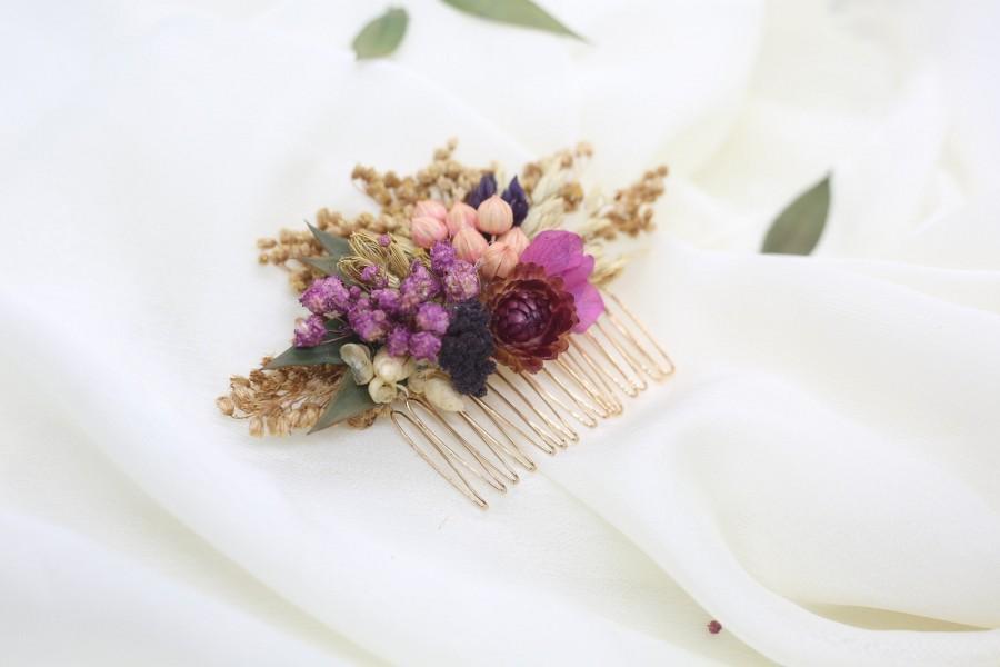 Wedding - Flower Hair Clip, Floral Hair Comb, Bridesmaid Hair, Bridal Hair, Wedding Hair, Gifts for Her, Dried Flower