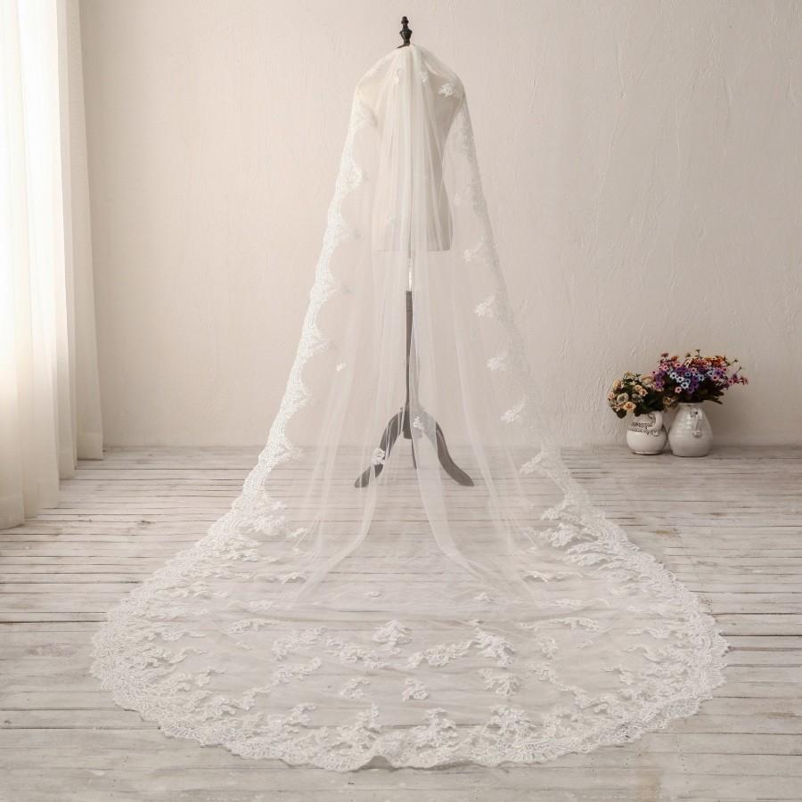 زفاف - Classic Cathedral Wedding Veil 1T Lace Bridal Veil Chapel Wedding Veil White Wedding Veil Bachelorette Party Veil