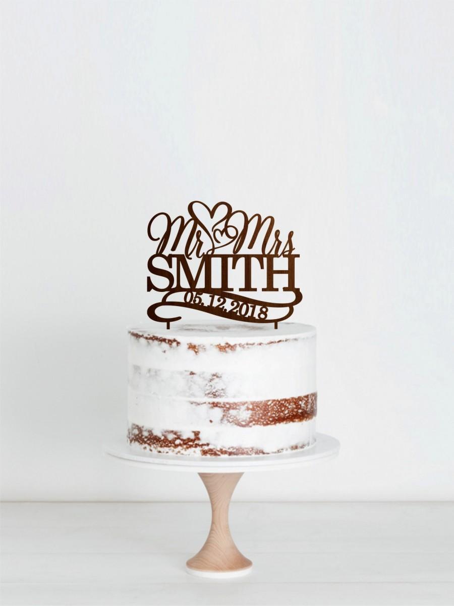 Hochzeit - Mr Mrs Wedding Cake Topper, Wedding Rustic Cake Topper, Custom Cake Toppers for Weddings, Heart Cake Topper, Custom Wedding Cake Topper