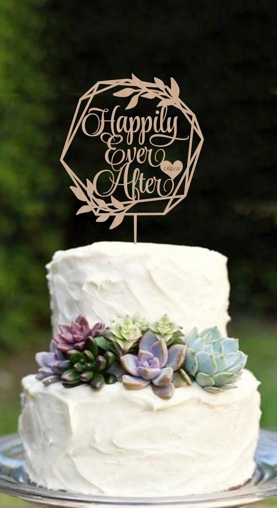 Hochzeit - Wedding Cake Topper Happily Ever After Cake topper Rustic Cake topper  Disney Cake topper  Wood cake topper   Personalized cake topper