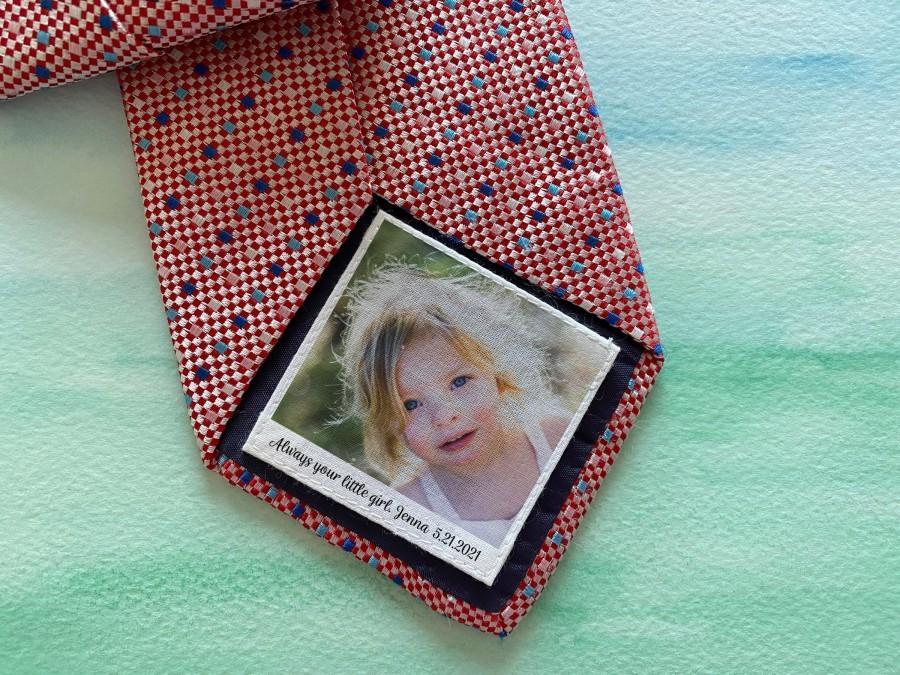 زفاف - Dad Tie Label / Suit Label / Picture Tie Patch /  Tie patch Father of the Bride  / Father of the Groom / Thank You Dad Label