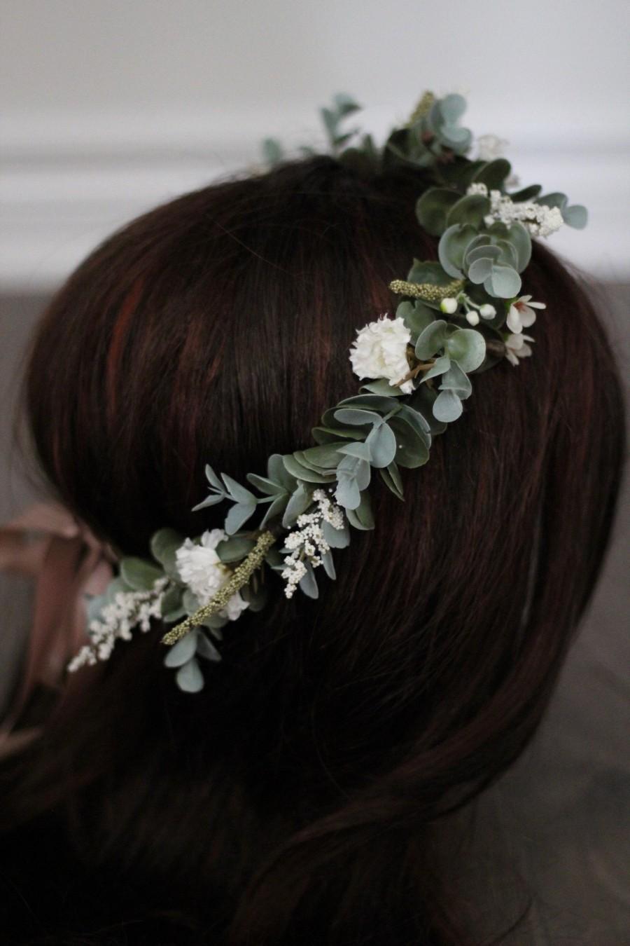 زفاف - Eucalyptus Crown, flower crown, floral crown, bridal flower crown, fall flower crown, winter flower crown, sage green crown, greenery crown