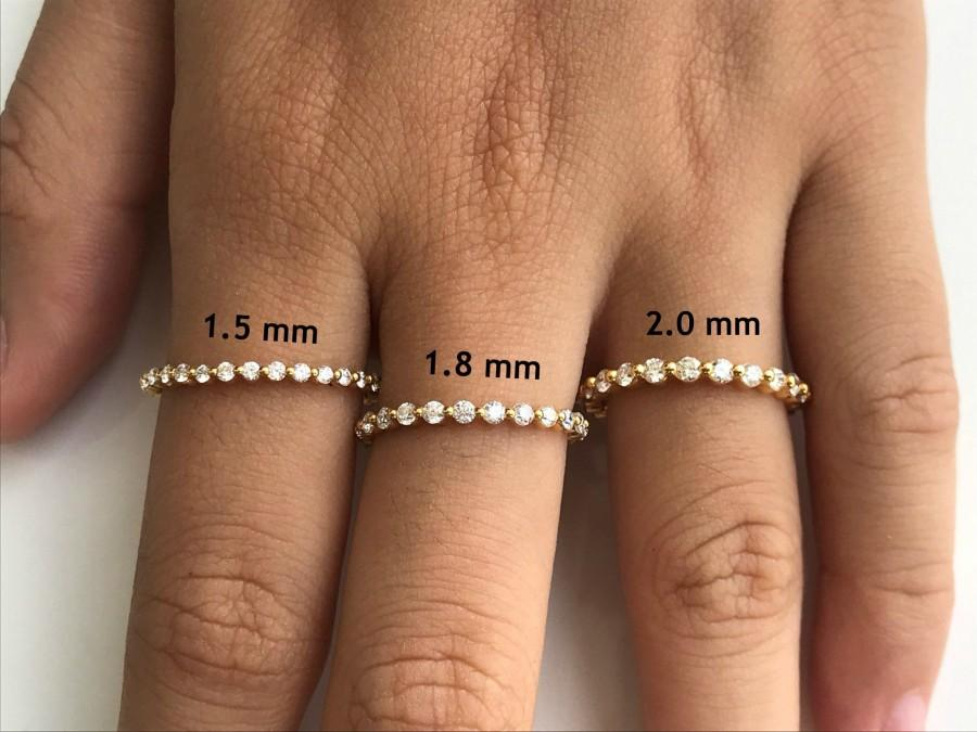 Свадьба - Single Prong Full Eternity Band, 1.5mm 1.8mm 2.0mm Diamond Wedding Band, Solid Gold Prong Set Band, Bubble Prong Band