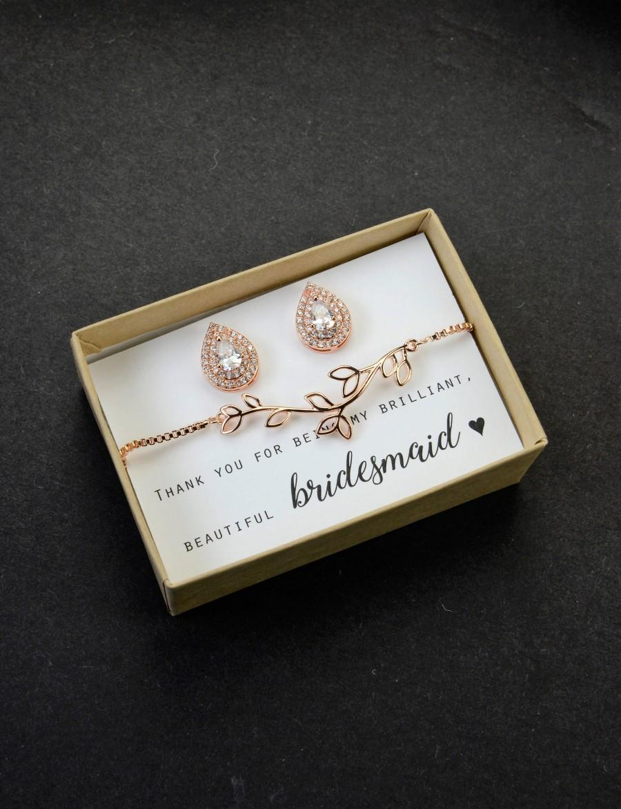 Свадьба - bridesmaid gift, bracelet earrings set, bridesmaid necklace, sale,Bridesmaid earrings, Pear CZ studs , Custom Tear drop CZ