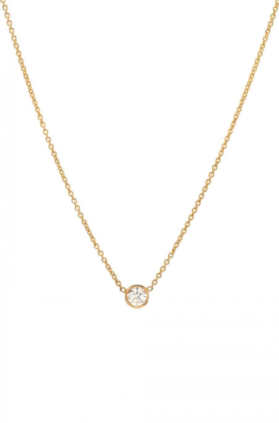 زفاف - Bezel diamond necklace, solitaire necklace, 14k solid gold