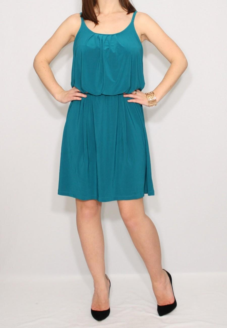 Hochzeit - Teal short bridesmaid dress, sundress, spaghetti strap dress