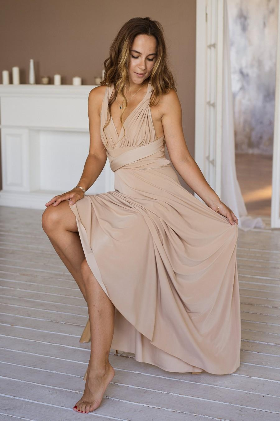 Hochzeit - Beige Bridesmaid dress, Beige infinity dress, Beige convertible dress, Beige maternity gown, prom dress, Beige multiway dress, party dress