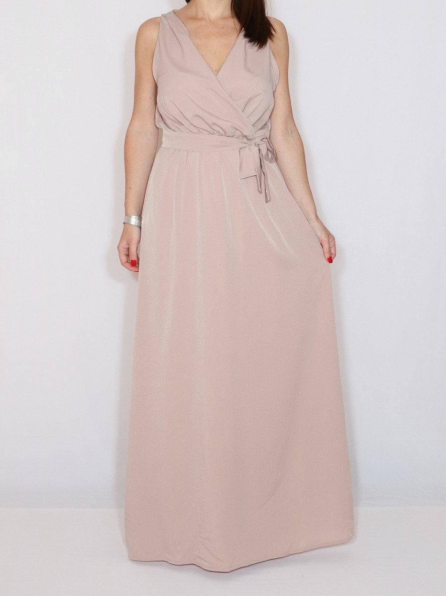 Hochzeit - Blush pink bridesmaid dress  Blush pink wedding dress Chiffon blush pink maxi dress Plus size long bridesmaid dress