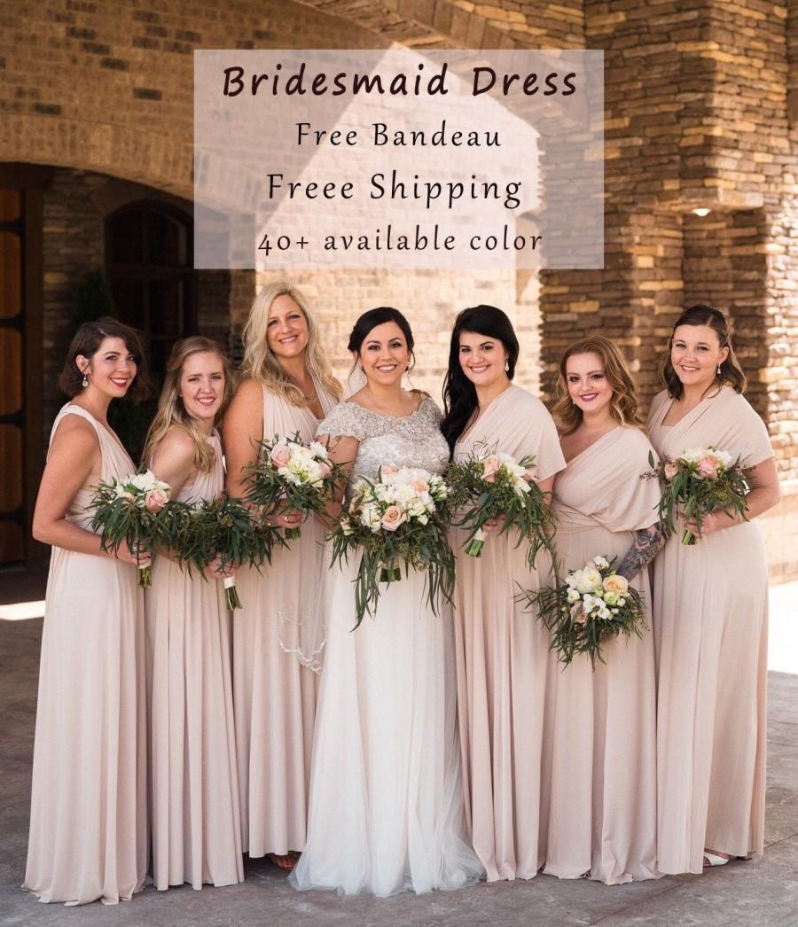 Hochzeit - Long Bridesmaid dress, Beige Dresses, gown convertible dress, long infinity dress, maternity dress, Wedding Dress C45# B45#   Free Shipping