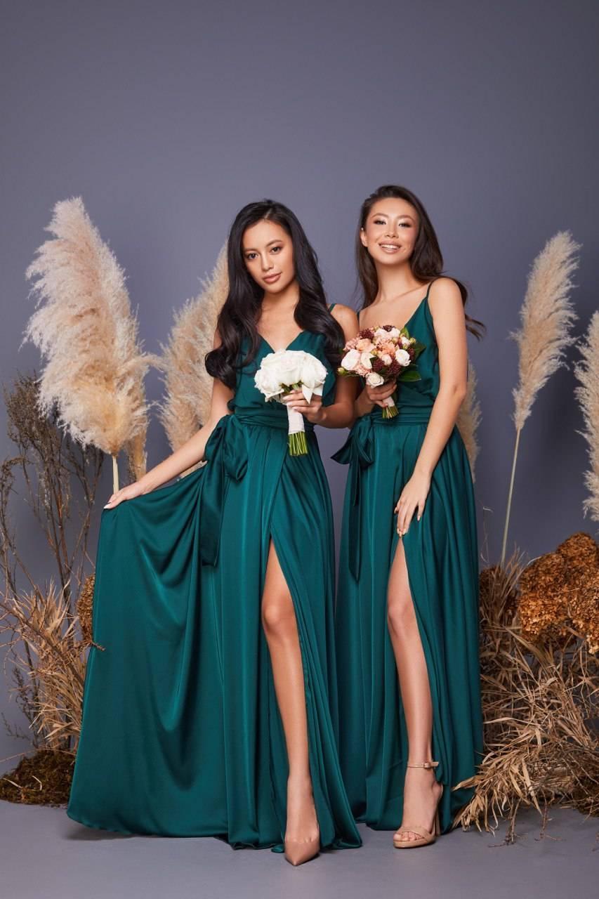 Hochzeit - Dark emerald bridesmaid dress/wedding guest dress/silk long maxi wrap dress/beach boho dress/minimalist dress/evening dress/prom dress