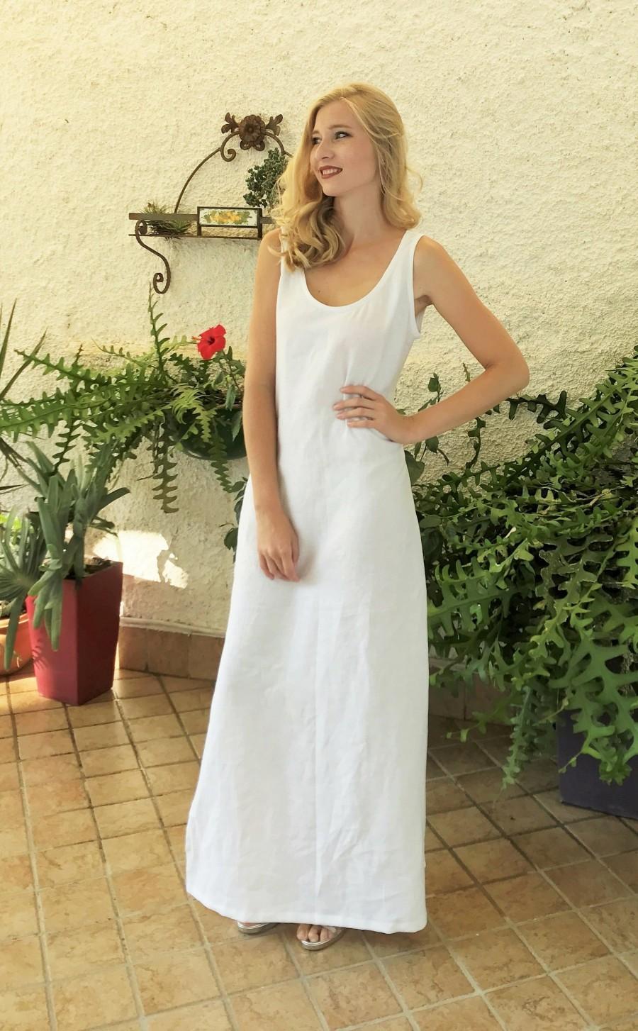 Hochzeit - Italian Linen Dress, White Linen Maxi Dress, Boho Wedding Dress, Sleeveless Dress, Beach Bridal Dress, Linen Tank Dress, Plus Size Clothing