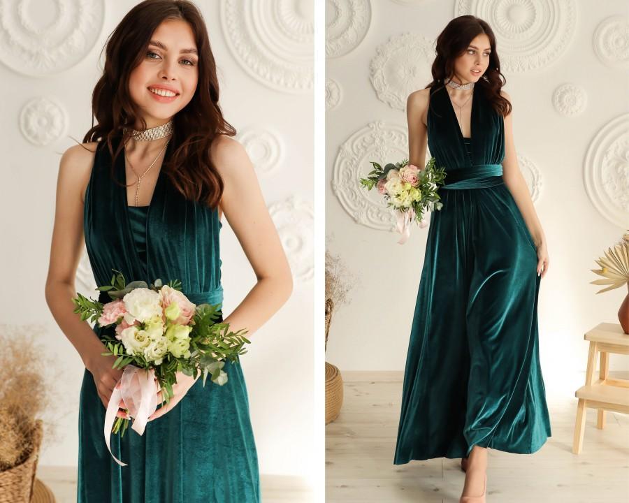Hochzeit - TEAL VELVET Infinity Dress Infinity Velvet Dress Bridesmaid Velvet Infinity Dress Bridesmaid Dress