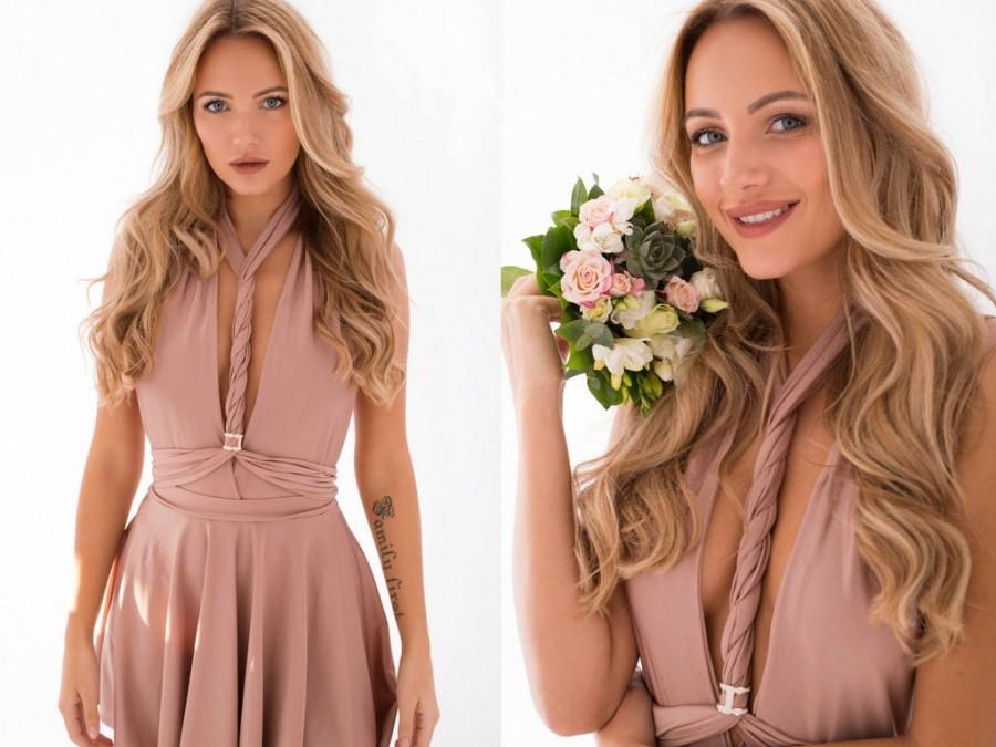 Hochzeit - Nude Homecoming Dress - Wedding Guest Dress - Beige Bridesmaid Convertible Dress - Long Infinity Creme Dress - Handmade by TTBFASHION