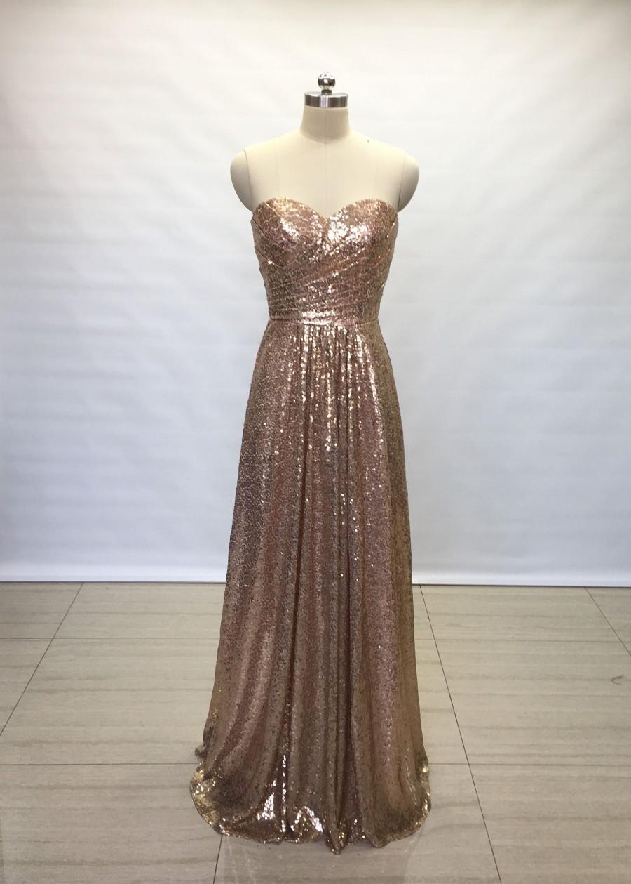 Hochzeit - A-line Sweetheart Bronze Gold Sequin Long Bridesmaid Dress