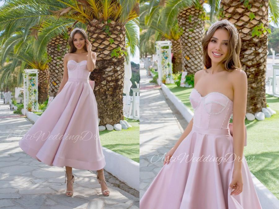 Hochzeit - Pink Midi Wedding Dress Isabella Satin Bridesmaid 80s 90s New Collection