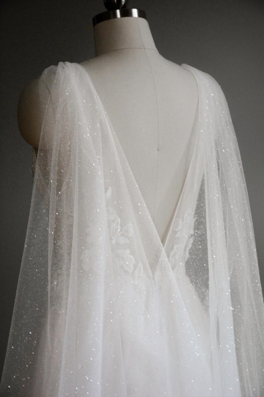 زفاف - sparkling bridal cape, shoulder cape veil, sparkly wedding cape, shoulder train, long wedding cape - VEGA