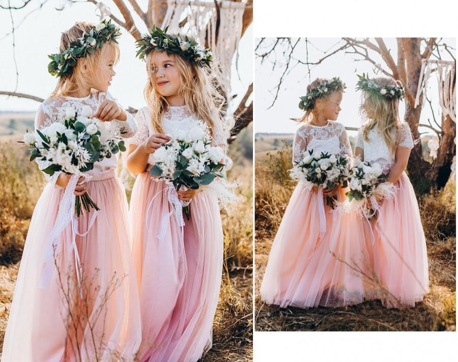 Hochzeit - Belle flower girl separates, flower girl dress, toddler dress, lace flower girl, boho flower girl, flower girl long tulle skirt