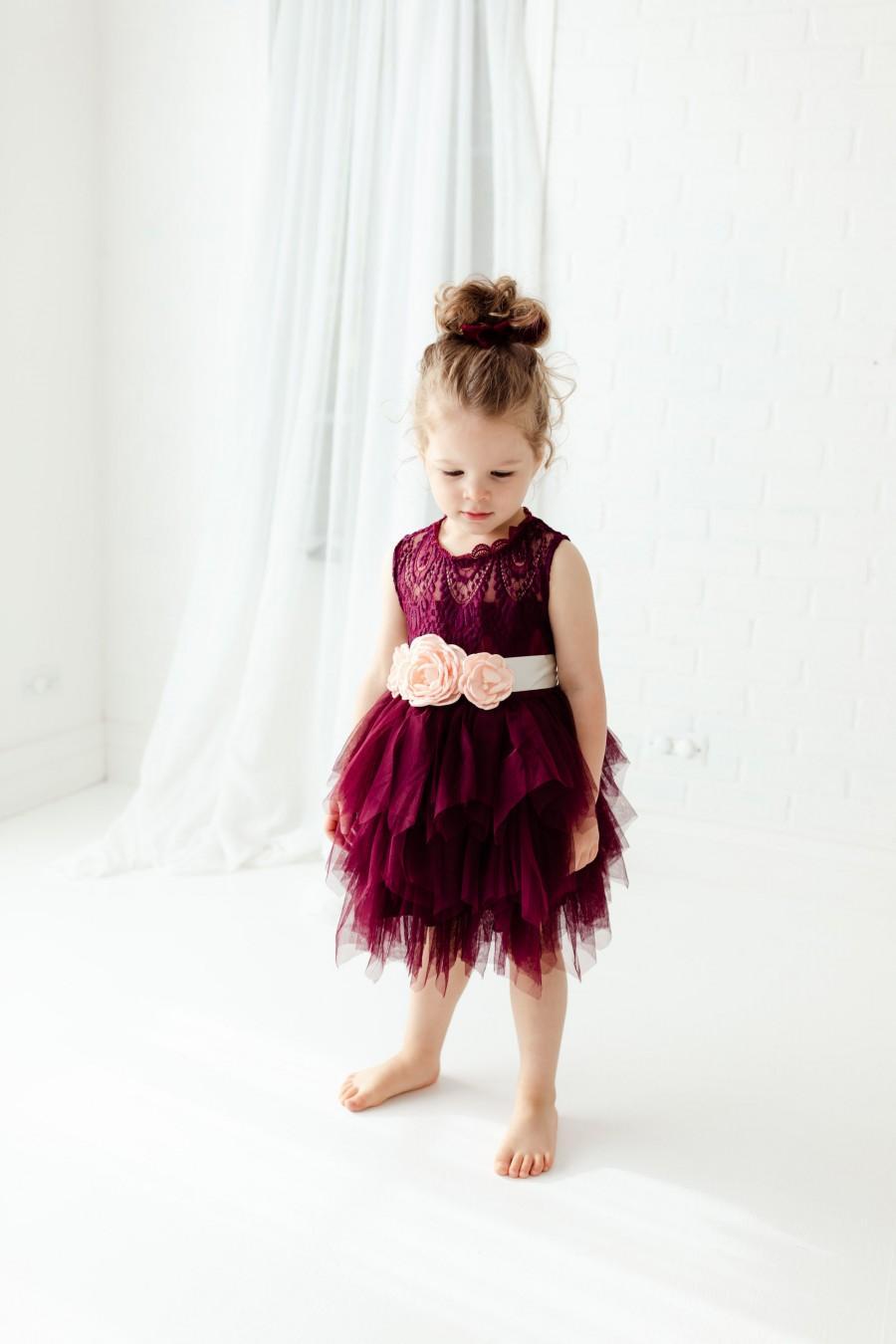 Hochzeit - Boho Burgundy Lace Flower Girl Dress, Will You Be My Flower Girl, Wine Tulle Flower Girl Dresses, Maroon Plum  Dress