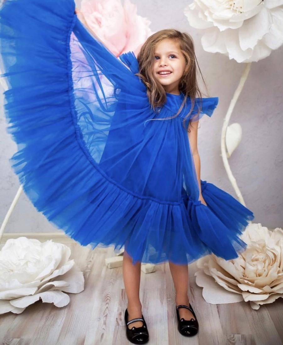 Hochzeit - Royal blue baby girl dress wedding dress bohemian flower girl dress Toddler Pageant Dress Girl Birthday Dress Tutu Toddler Party Dress
