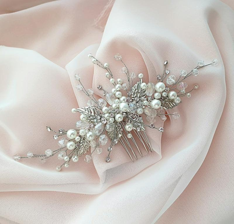 Wedding - Bridal hair comb-Wedding hair comb-Crystal Hair comb -Wedding Hair piece-Bridal headpiece-Wedding accessories-Silver headpiece