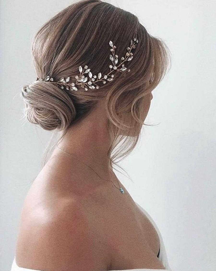 Wedding - Wedding head piece for bride Bridal hair vine Wedding hair pieces Crystal hair vine Crystal headpiece Wedding hair accessories Crystal halo