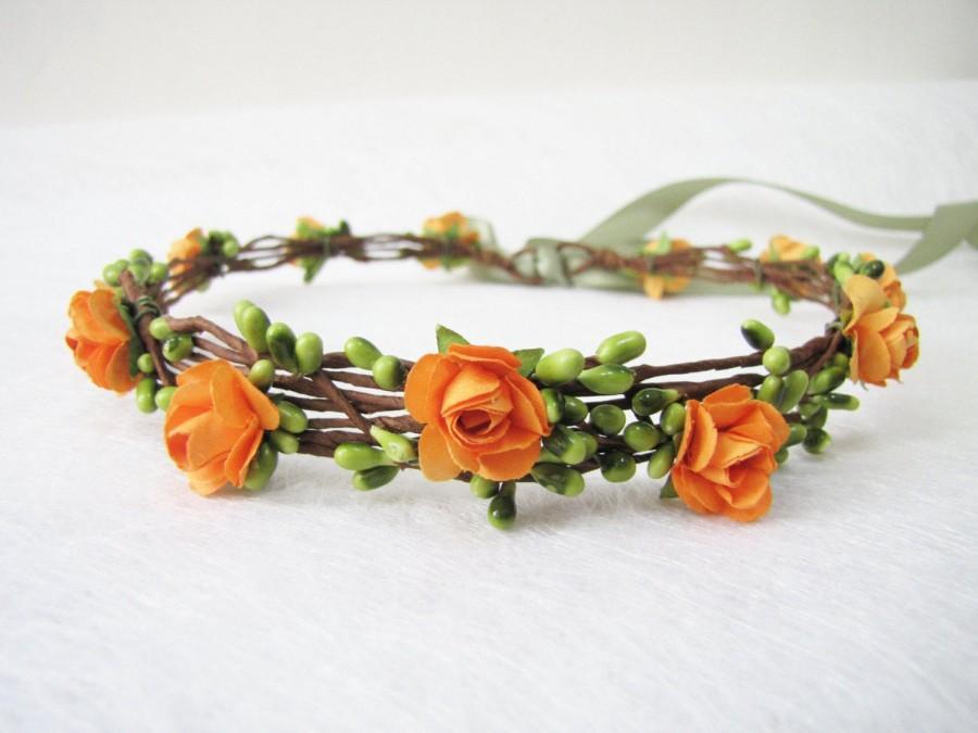 Wedding - Wedding Floral Crown, Orange Flower Headband, Floral Head Wreath, Wedding Headband, Bridesmaid Flower Crown, Flower Girls Flower Crown