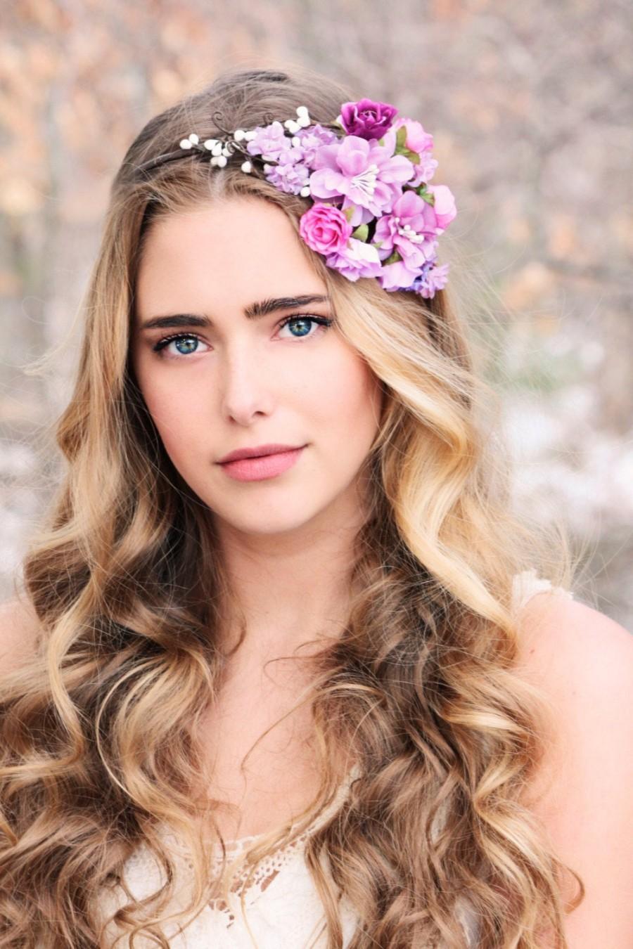 Wedding - wedding accessories, bridal flower crown, bridesmaid flower, wedding headpiece, head wreath in purple, hair accessories, bridal, flower girl
