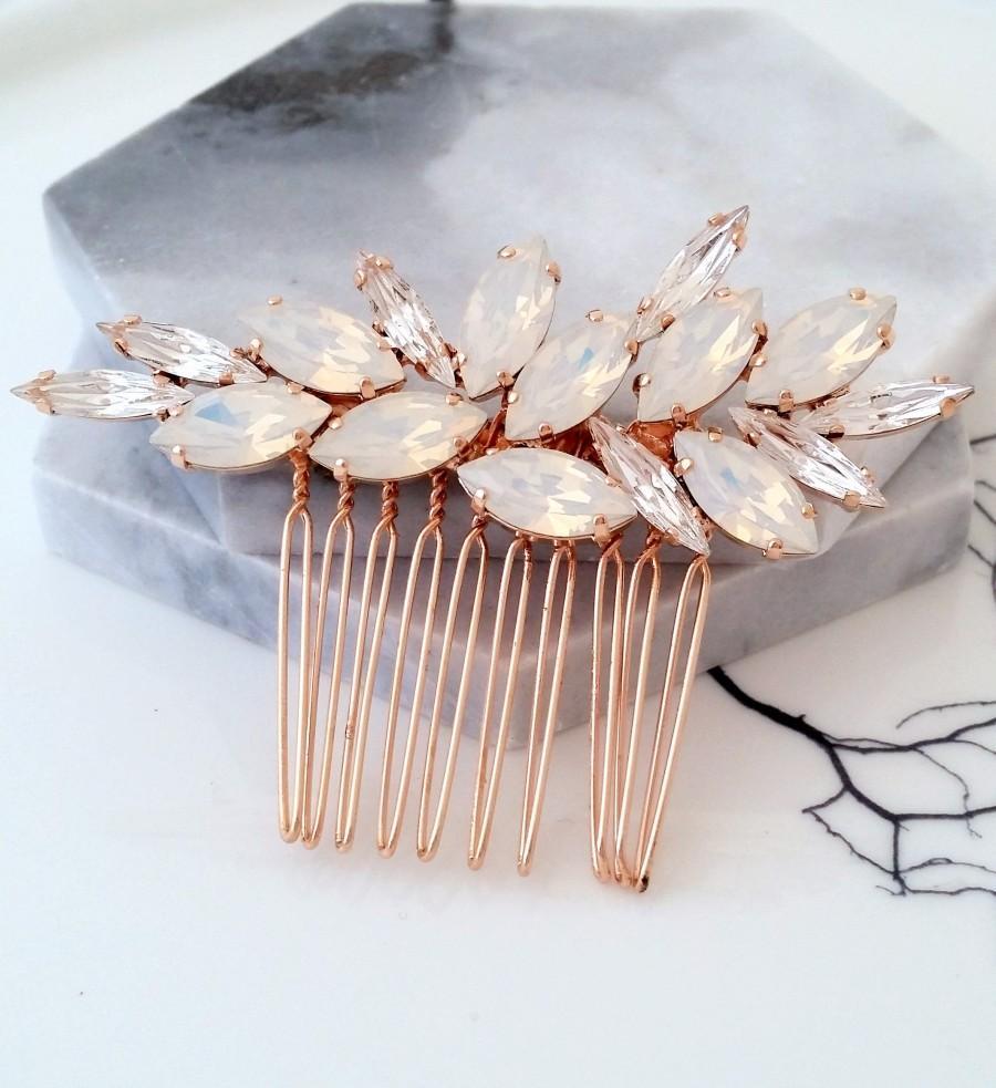 Wedding - Bridal Hair Comb,White opal Hair Comb,Wedding Hair Accessory,Wedding headpiece,Crystal hair comb,Statement head piece,Gatsby Headpiece