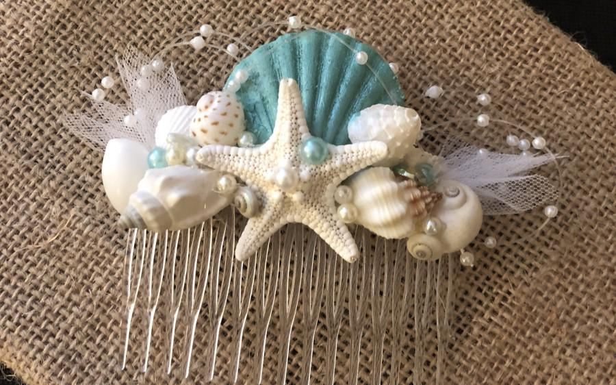 Wedding - X o bouquets hair shell comb mermaid beach wedding  starfish
