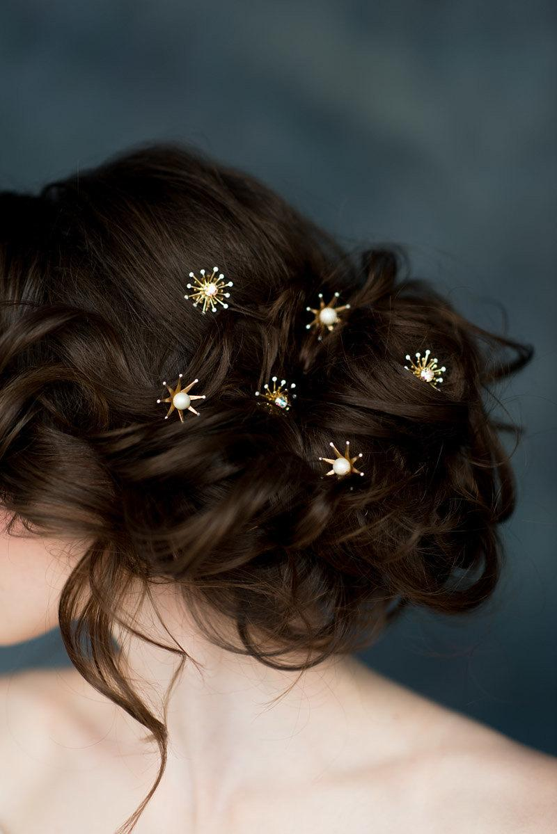 Wedding - Star Hair Pins, Celestial Bridal Hair Pin Hairpiece, Silver Starburst Hair Pin, Hair Pin Set,  Rose Gold Hair Pins, Modern Headpiece, LUNA