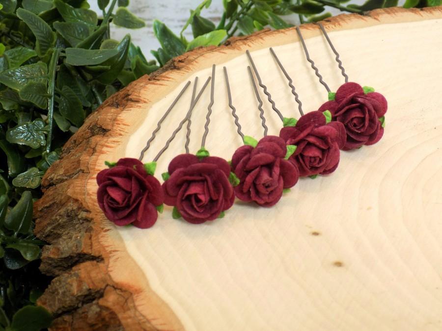 Wedding - Burgundy Paper Rose Flower Hair Pins