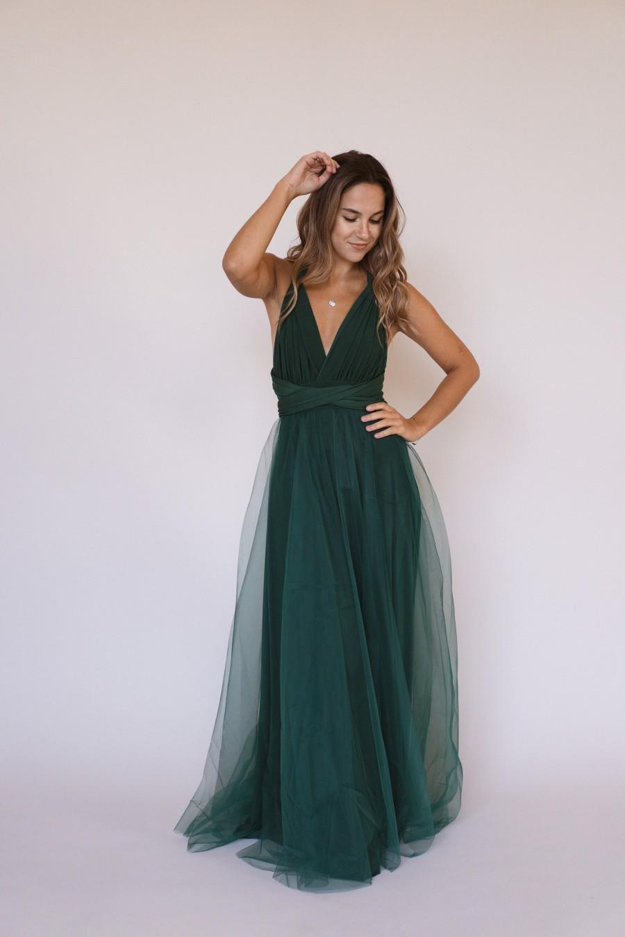 Wedding - Emerald Green infinity dress, Emerald Green Bridesmaid dress, Emerald convertible dress, multiway dress, Emerald bridesmaid dress
