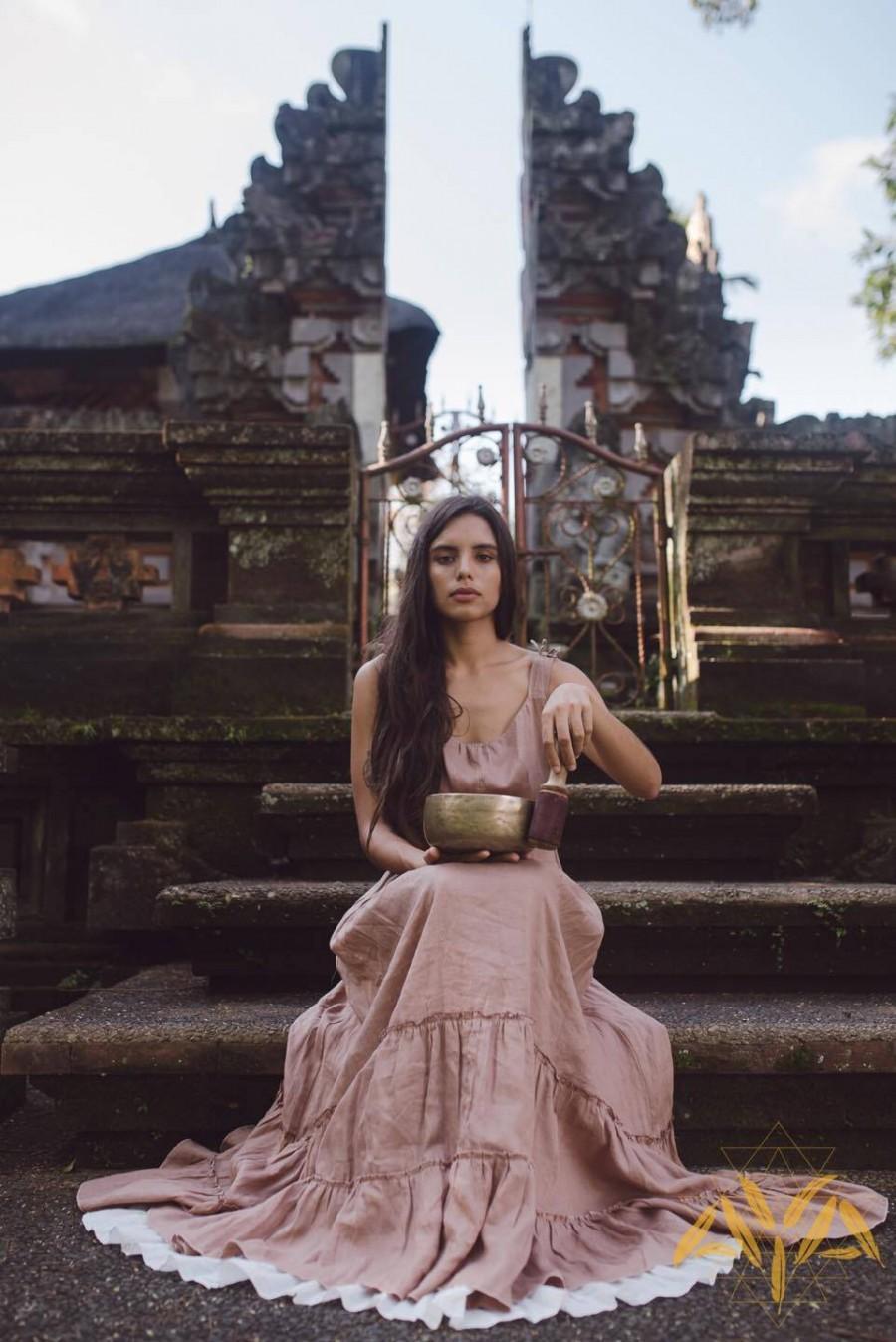 Wedding - Linen Boho Dresses for Women • Bohemian Dress Pink • Sustainable Linen Clothing • Pink Sleeveless Maxi Dress • Pure Organic Linen Dress