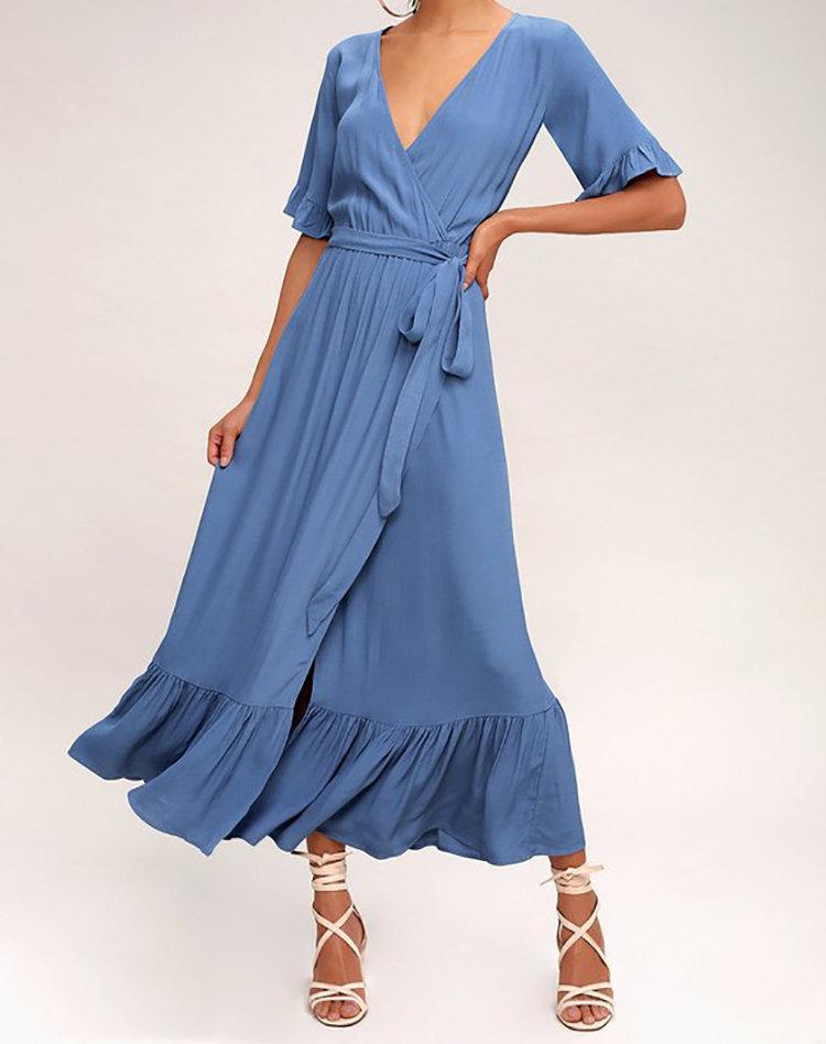 Wedding - Wrap Dress, Maxi Wrap Dress, Summer Dress, Casual Dress, Bridesmaids Dress, Maternity Dress, Babyshower Dress, Long Dress, Blue Dress