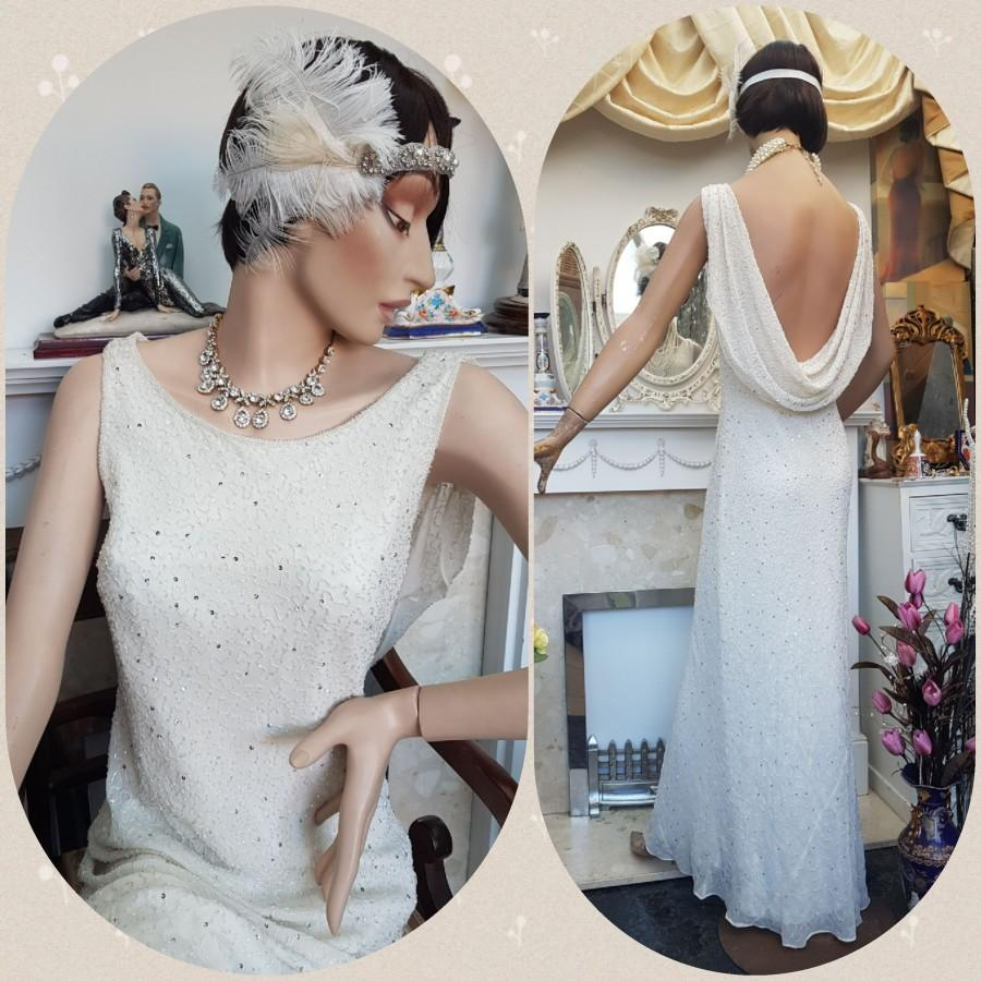Wedding - 1930's Downton Abbey Evening Formal Gown Bias Cut Beaded Wedding Dress Size 12UK 8US