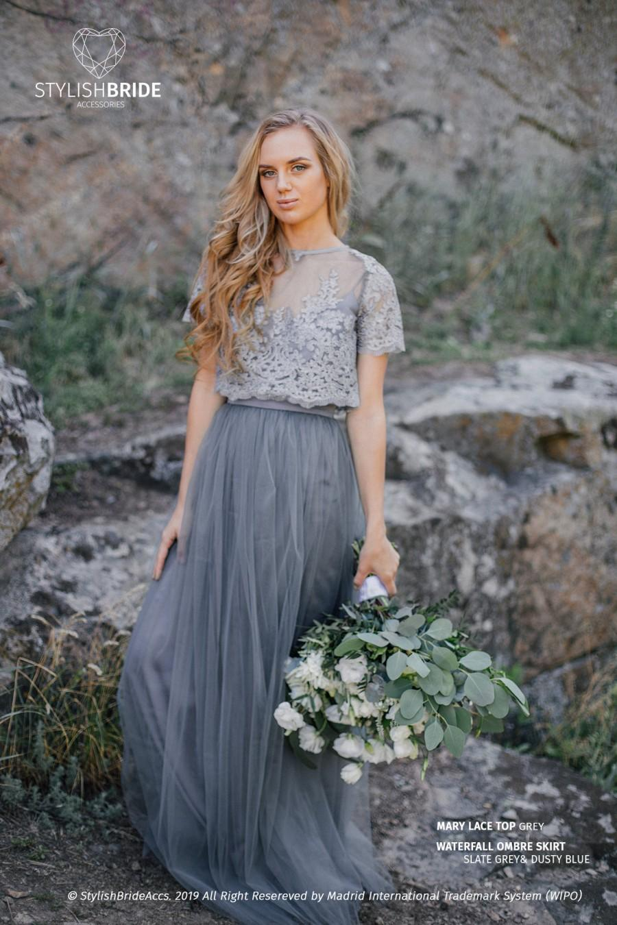 Wedding - Ombre Slate Grey&Dusty Blue Mary Dress, Long Grey Waterfall Bridesmaids or Engagement Skirt, Prom Lace Dresses Plus Size Dark Grey