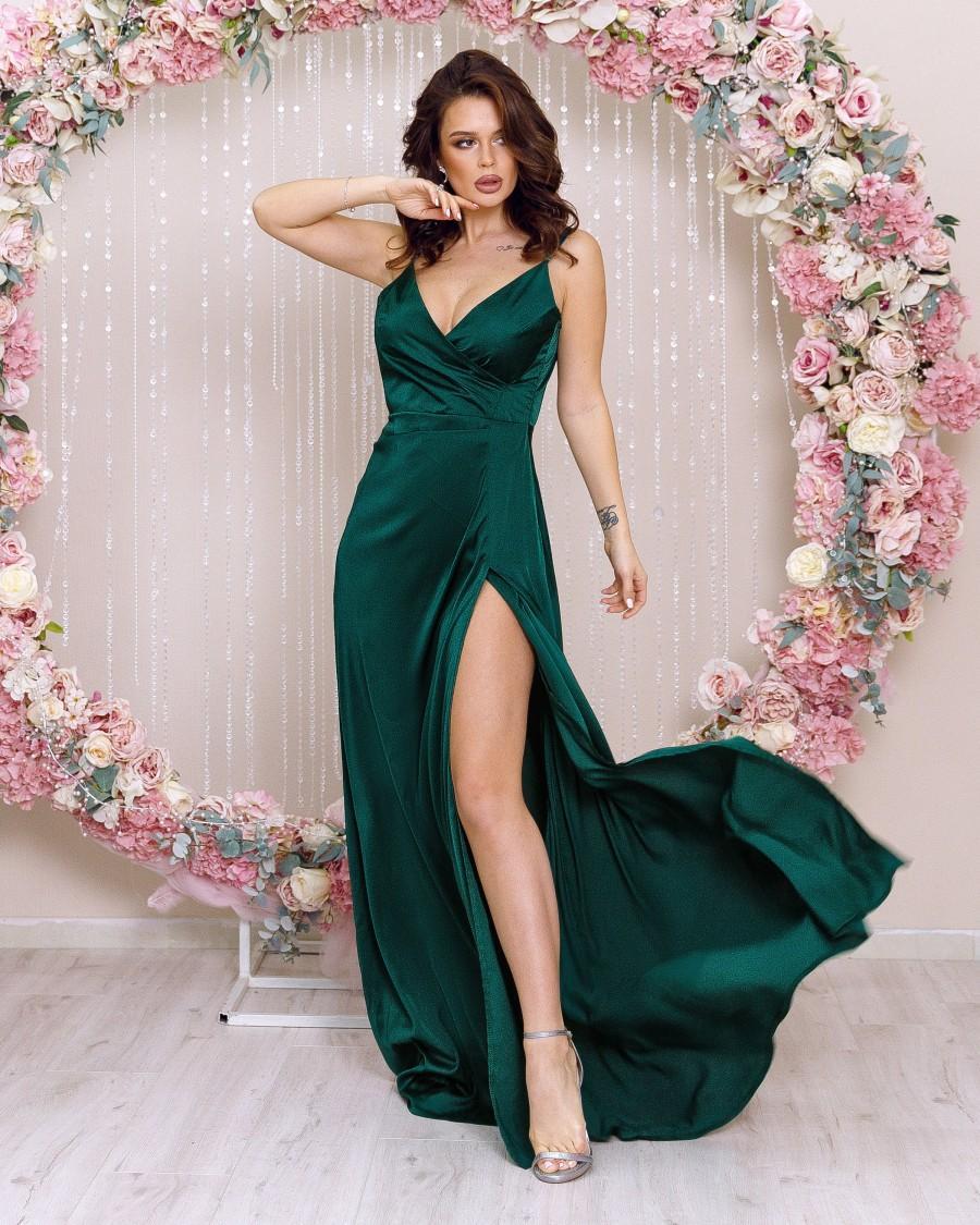 Wedding - Emerald Satin Bridesmaid Dress, Evening Gown, Green Silk Dress Maxi,Prom Dress Long
