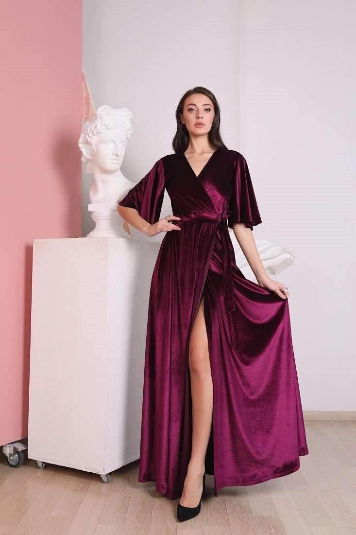 Wedding - Marsala Velvet Wrap Dress, Flutter Sleeve Long Dress, Wrap Maxi Dress, Bridesmaid Wrap Gown, Velvet Bridesmaid Dress