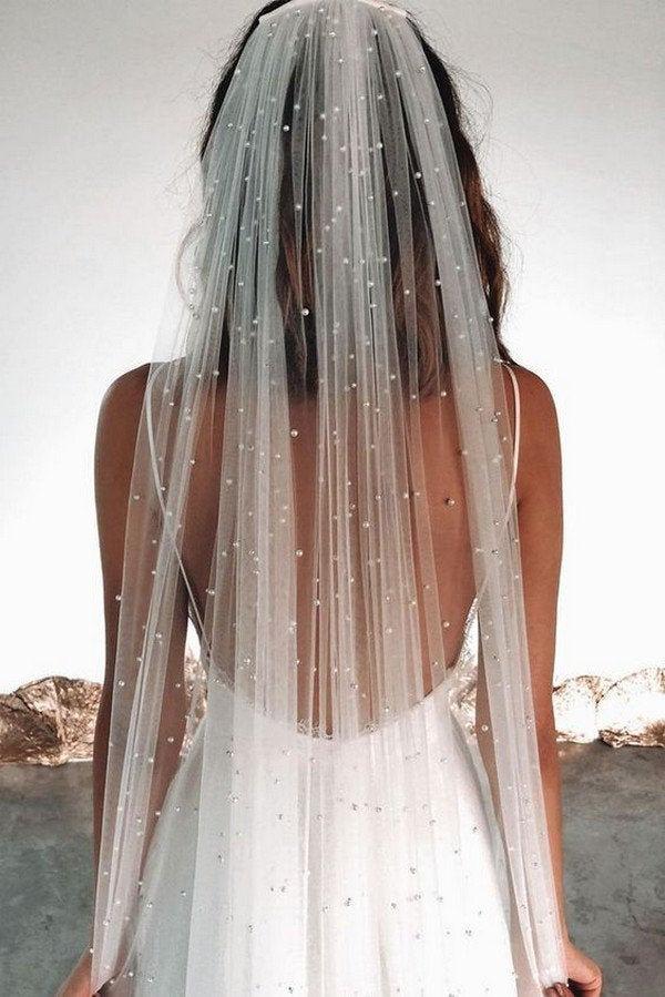 Hochzeit - Pearl veil, Wedding Veil with pearls, scattered pearl wedding veil, tulle veil, bridal veil, ivory veil, light ivory veil.