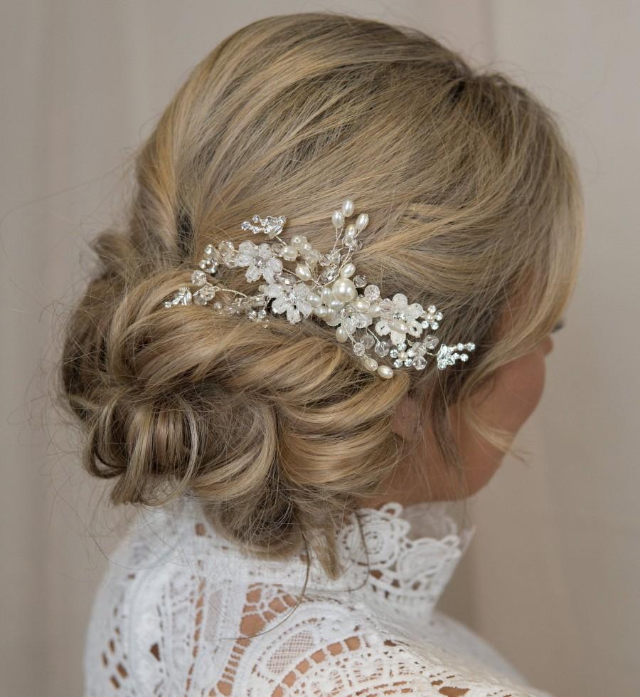 زفاف - Bridal Hair Comb Silver, Bridal Hair Piece, Pearl Hair Comb, Wedding Hair Comb, Crystal Hair Comb, Bridal Headpiece, Bridal Hair Accessories