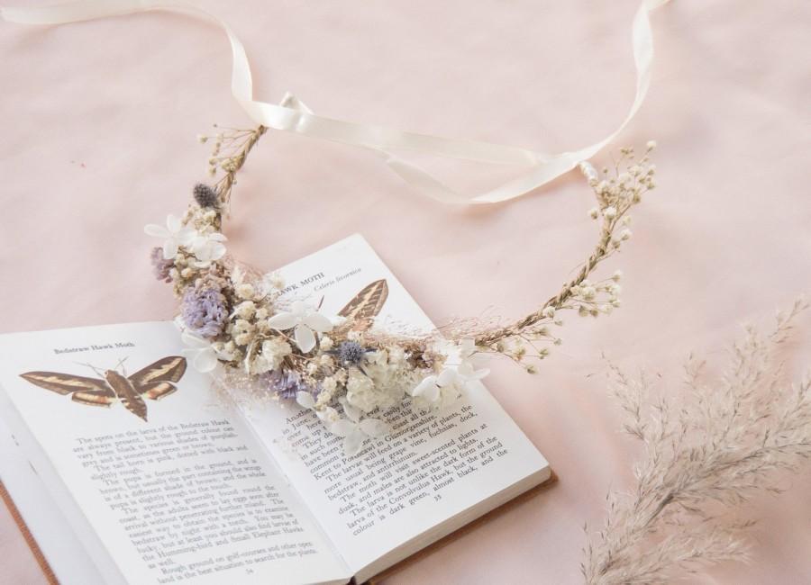 Свадьба - Hydrengea Wedding Half Crown / Baby's Breath Dried Grasses Crown / Dried Flower Crown / Boho Bridal Crown