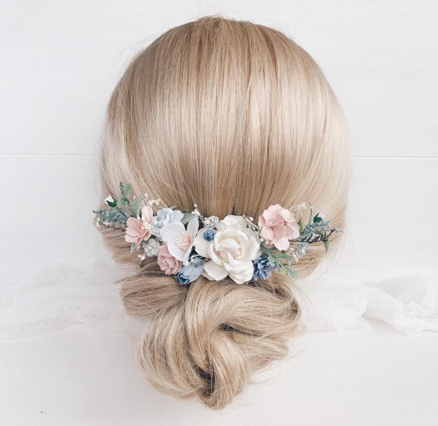 زفاف - Flower hair comb, Blush blue flower hair comb, Bridal flower hair piece, Wedding flower hair clip, Bridal flower hair comb, Bridesmaids