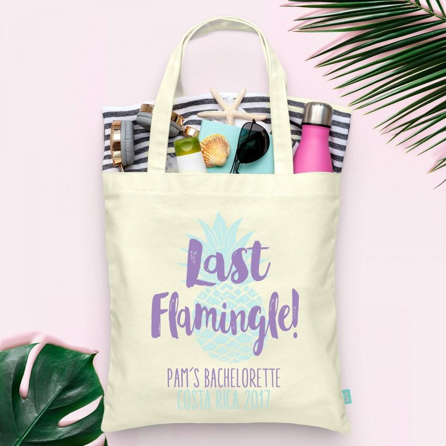 زفاف - Last Flamingle Flamingo Pineapple Bachelorette Party Totes- Wedding Welcome Tote Bag
